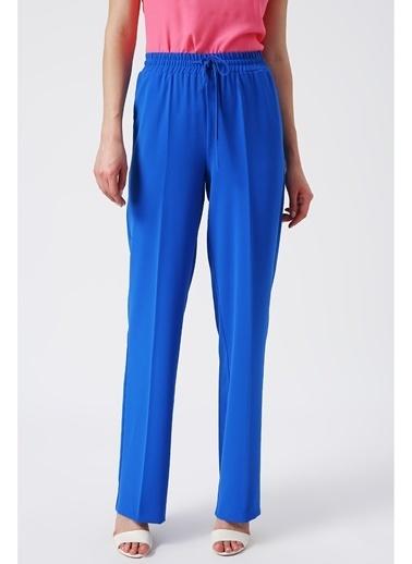 Random Kadın Beli Lastikli Bol Kesimli Pantolon Mavi